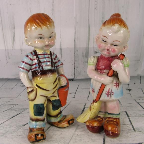 Handmade Other - 2 Peasant Oriental Chinese Children Figurines